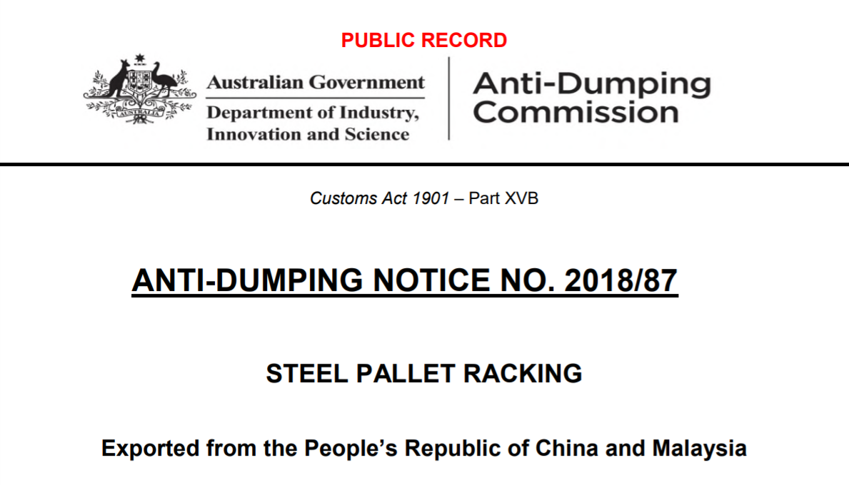 anti dumping duty steel pallet racking